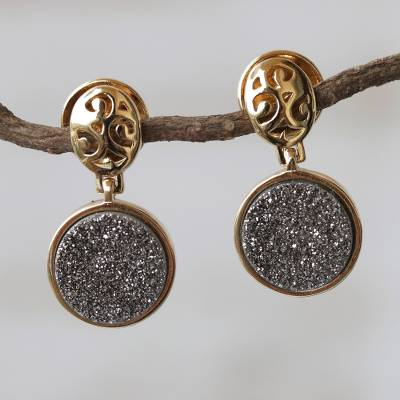 Brazilian drusy agate dangle earrings, 'Sparkling Mirror' - Gold Plated Drusy Dangle Earrings