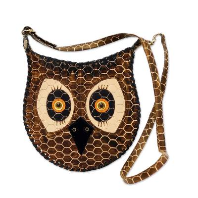 Leather shoulder bag, 'Amazon Owl' - Unique Handcrafted Leather Shoulder Bag