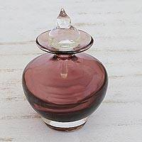 Handblown art glass decorative bottle, 'Purple Passion' (small) - Hand Blown Decorative Bottle (Small)