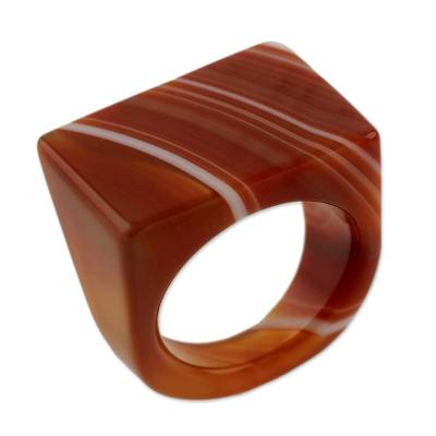 Handcrafted Good Fortune Rio Agate Cocktail Ring