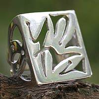 Sterling silver cocktail ring, Mother Nature