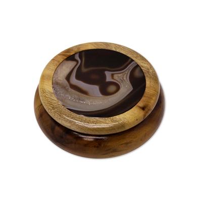 Cedar and Brazilian Agate Small Round Jewelry Box
