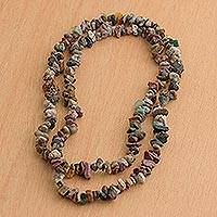 Jasper long beaded necklace, 'Brazilian Colors' - Beaded Jasper Necklace Crafted in Brazil