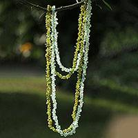 Fluorite and peridot long beaded necklaces,