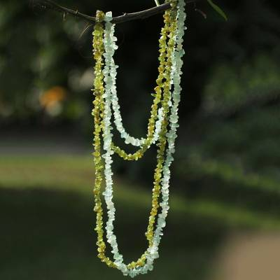 Fluorite and peridot long beaded necklaces, 'Cool Breeze' (pair) - Beaded Peridot and Fluorite Necklaces (Pair)