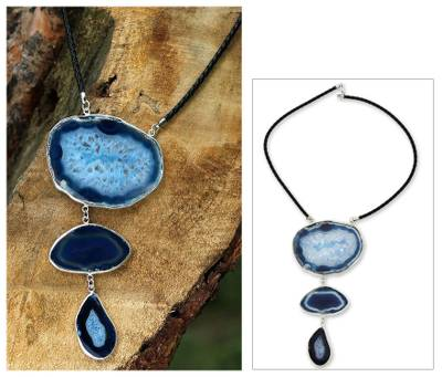 Agate Y necklace, 'Sea Blue Mystique' - Fair Trade Leather and Agate Modern Necklace