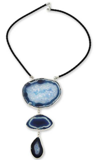 Fair Trade Leather and Agate Modern Necklace