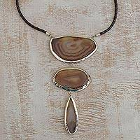 Agate Y necklace, 'Golden Brown Mystique' - Brown Handcrafted Leather Agate Y Necklace