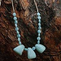 Amazonite pendant necklace, 'Clear Sky' - Artisan Crafted Amazonite Necklace from Brazil
