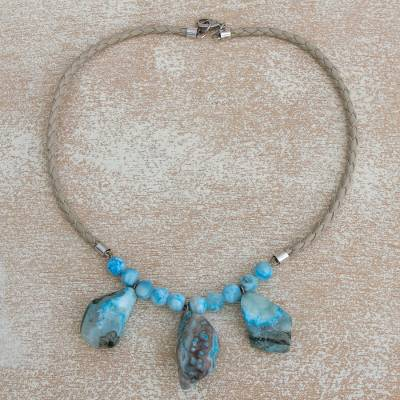 Beaded leather necklace, 'Blue Cenote' - Turquoise Colored Beaded Necklace on Braided Leather