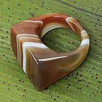 Agate cocktail ring, 'Caramel Ripple' - Modern Agate Cocktail Ring