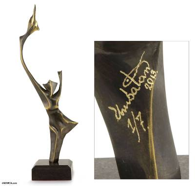 Bronze sculpture, 'Solid Flame' - Modern Brazilian Fine Art Signed Bronze Sculpture