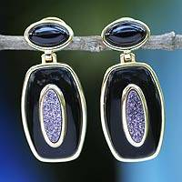 Gold plated onyx and drusy agate earrings, 'Purple Moon Goddess' - Drusy Agate Earrings with Onyx And 18k Gold Plate