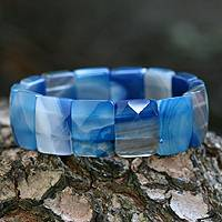 Beaded stretch bracelet, 'Amazon Blue' - Beaded Stretch Agate Bracelet