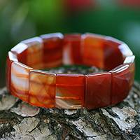 Beaded stretch bracelet, 'Amazon Caramel' - Beaded stretch bracelet