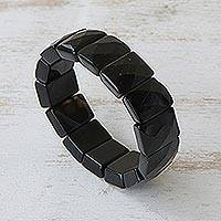 Beaded stretch bracelet, 'Amazon Black' - Beaded stretch bracelet