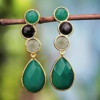 Gold plated onyx dangle earrings, 'Carioca Melody' - Gold plated onyx dangle earrings