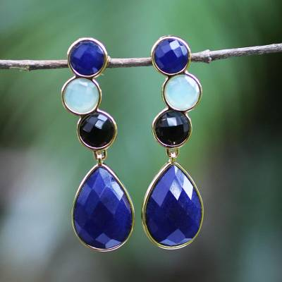 Gold plated onyx dangle earrings, 'Blue Carioca Melody' - Gold plated onyx dangle earrings