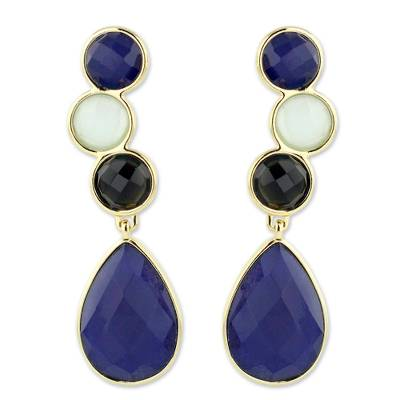 Gold plated onyx dangle earrings
