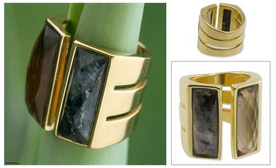 Mexican silver jewelry - Brazilian Gold Plated Labradorite and Quartz Wrap Ring