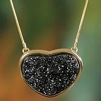 Brazilian black drusy agate heart necklace, 'True To You' (Brazil)