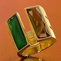 Gold plated quartz wrap ring, 'Love Attraction' - Unique Modern Gold Plated Quartz Wrap Ring
