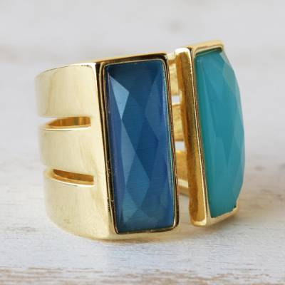 Gold plated agate wrap ring, 'Love Attraction' - Women's Modern Gold Plated Wrap Agate Ring
