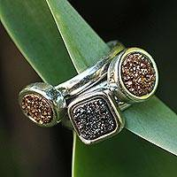 Brazilian drusy agate stacking rings, 'Samba Glitz' (set of 3) - Unique Gold Plated Multi-Stone Drusy Rings (Set of 3)