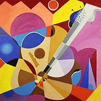 'Fragmented Guitar' (2013) - Cubist Oil Painting