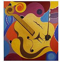 'Violoncello' (2013) - Harpooned Cello in Oil on Canvas from Brazil