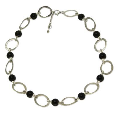 Black Agate and Sterling Silver Artisan Crafted Necklace