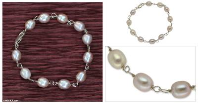 Cultured pearl bracelet, Rose Romance