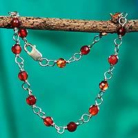 Caramel agate link bracelet,