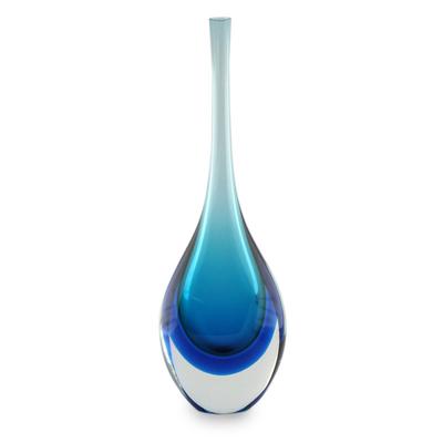 Handblown art glass vase, 'Levitating Sky' - Blue Art Glass Murano Inspired Vase