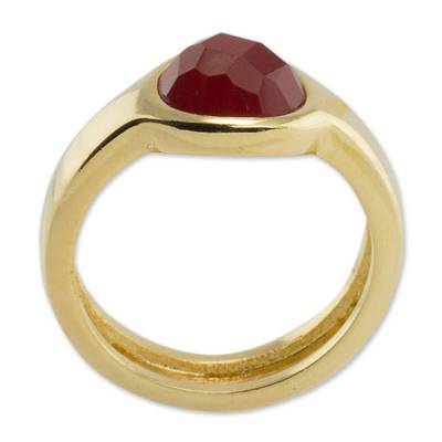 Ruby Solitaire Ring 2 Cts and 18k Gold Plated