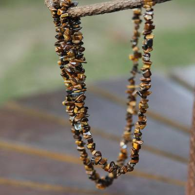 Tiger's eye long beaded necklace, 'Wonders' - Artisan Crafted Brazilian Tiger's Eye Beaded Long Necklace