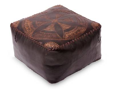 Leather ottoman cover, 'Floral Magnificence' - Handcrafted Brown Leather Ottoman Cover