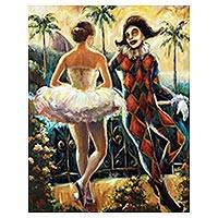 'The Harlequin and the Ballerina' - Romantic Acrylic on Canvas Painting