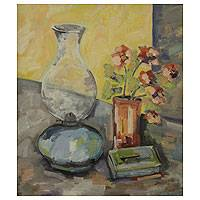 'The Lamp' - Nostalgic Still Life Painting from Brazil