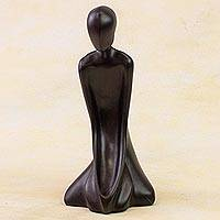 Sculpture, 'Meditation' (9.5 inch) - Signed Black Resin Yoga Sculpture (9.5 Inch)