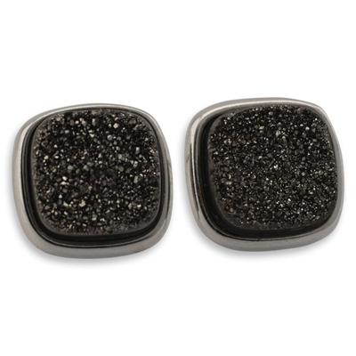 Brazilian Drusy Rhodium Plated Square Earrings