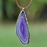 Agate pendant necklace, 'Uniquely Lilac' - Agate and Sterling Silver on Leather Necklace