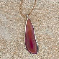 Agate pendant necklace, 'Uniquely Pink' - Agate and Sterling Silver on Leather Necklace