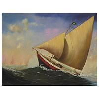 'Laughter of the Sea' - Brazilian Sailboat Painting