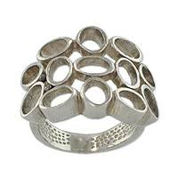Sterling silver band ring, 'Beehive' - Original Sterling Silver Band Ring