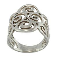 Sterling silver band ring, 'Arabesques' - Fair Trade Jewelry Sterling Silver Ring