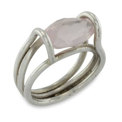 2-carat Rose Quartz Marquise on Sterling Silver Ring