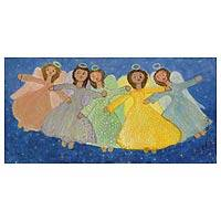 'Angels Touring the Sky' - Signed Naif Painting Brazilian Fine Arts