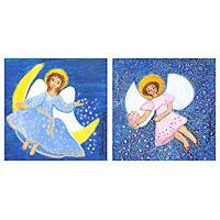 'Angels I' (diptych) - Set of 2 Naif Angel Paintings