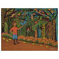 'Blue Butterfly' (2013) - Boy in Brazilian Jungle Signed Fine Art Painting